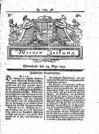 Titelseite der Ausgabe Nr. 40, 19. Mai 1792