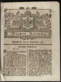 Titelseite der Ausgabe Nr. 76, 22. September 1798
